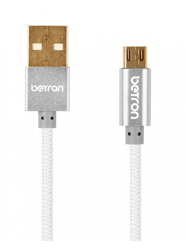 Nylon Braided Reinforced Tangle Free USB to Micro USB Cable - Silver