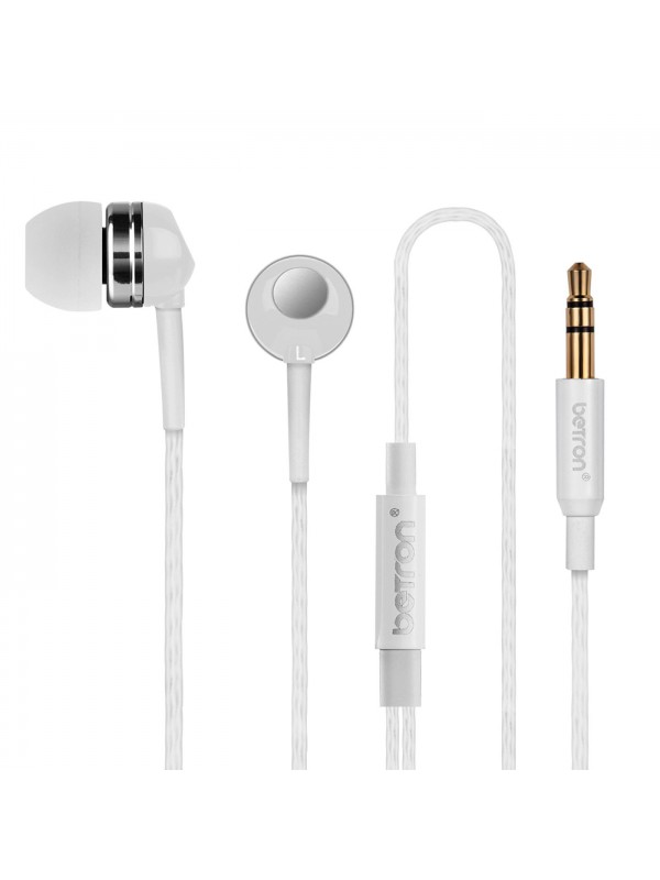 Betron RK300 in ear Headphones Noise Isolating Comfort fit Earphones for iPhone, iPad, iPod, Mp3 Players, Samsung etc- White