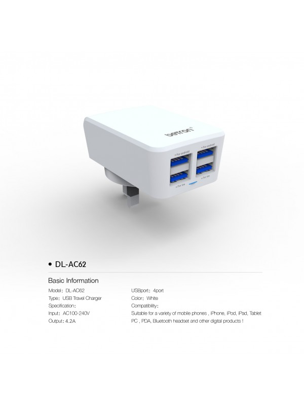 4 Ports USB Mains Charger AC62 White